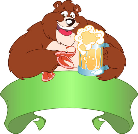 Brown bear drinking beer.He holds in his paws a mug of beer and shrimp. Stock Vector - 8811509