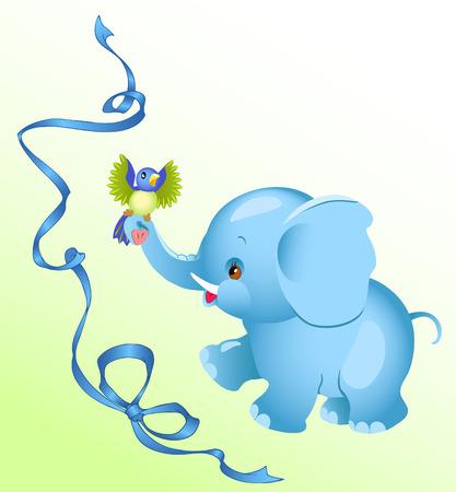 little bird: The image a cheerful  elephant.A little bird sitting on an elephants trunk.Blue ribbon on a background.