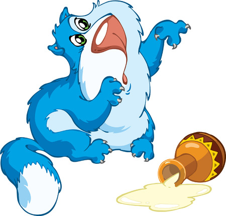 smeared: The animation blue cat has overturned a jug with sour cream and has smeared a paw. Illustration
