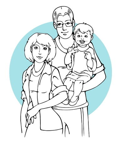 child care: Family portrait with Dad keep son on hands and Mom stand near them