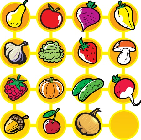 Fruits and vegetables on a yellow and white background. Иллюстрация