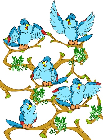 Sitting on a tree little birds.They are blue, cartoon, and cheerful.