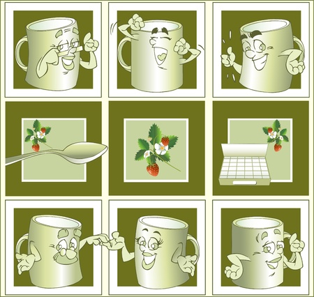 Cartoon cup for tea.Cups, spoons, sugar and strawberries on a green background. Vector