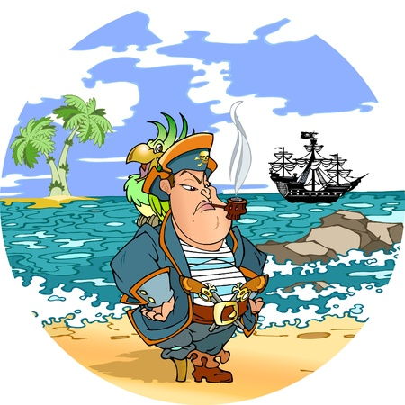Pirate with a parrot on his shoulder against the backdrop of the sea.Pirate stands on the shore, far seen a pirate ship and palm trees.An illustration is divided into layers. Stock Vector - 9232539