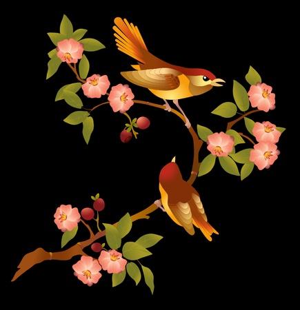 geteilt:   Bl�hender Zweig der Sakura.Rosa sch�nen Blumen und zwei helle Bird on a Branch.Eine Illustration gliedert sich in Schichten auf schwarzem Hintergrund.