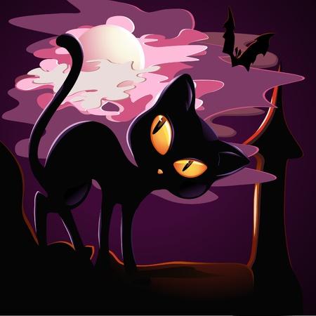 black kitten on the roof in Halloween. Illustration
