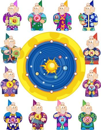 vestidos antiguos: El astr�logo viejo ropas diferentes con artefactos presenta 12 signos del Zodiaco