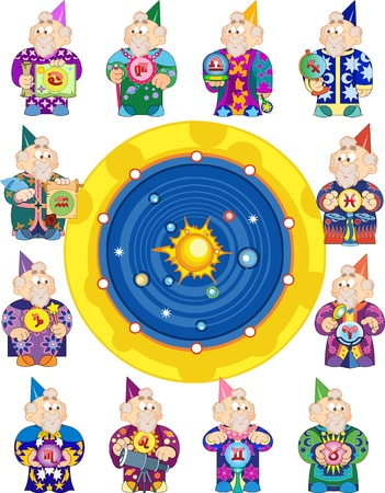 star man: The old astrologer in different clothes with artifacts presents 12 signs of the Zodiac Illustration