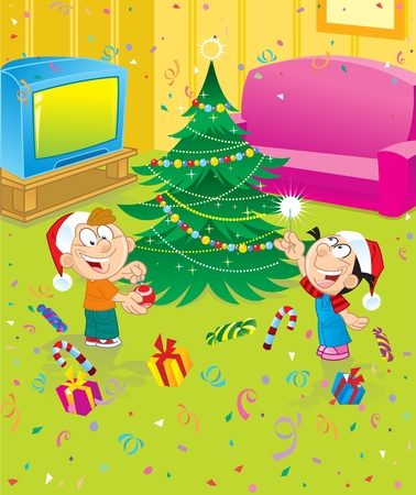 The children decorate the Christmas tree Stock Vector - 9685770
