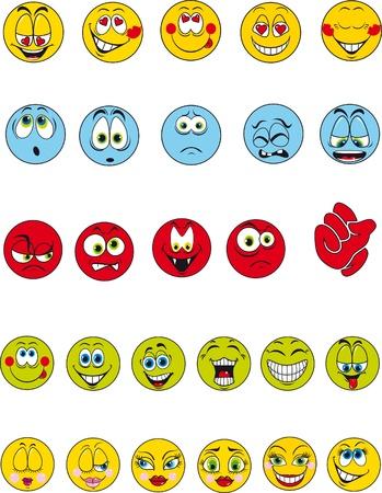 cartoon kiss: A set of 27 colorful emotional smileys Illustration