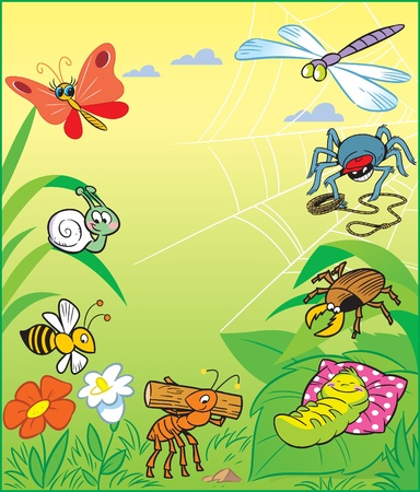 Funny cartoon insects on a background of green grass and flowers Vector