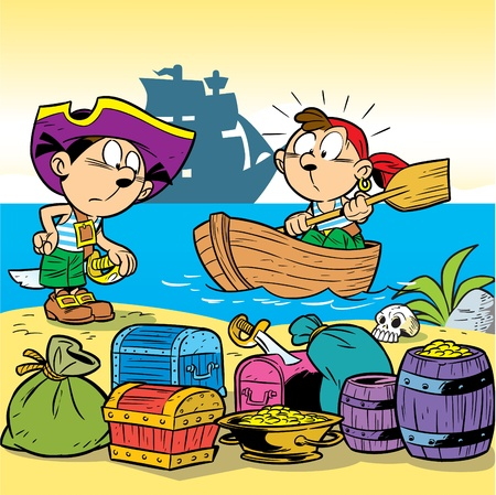 In the illustration, children are playing pirates. Stock Vector - 9930087