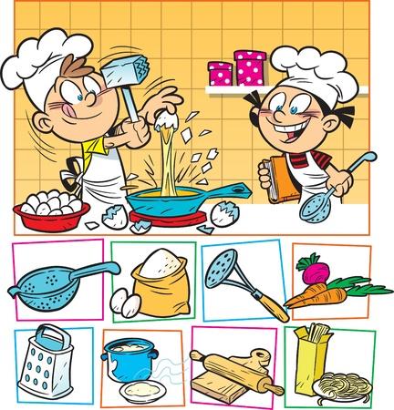 De afbeelding toont hoe leuk de kinderen een maaltijd bereiden Vector Illustratie