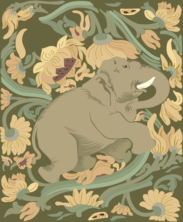 tusk:  big elephant in the background of green and yellow plants.Illustration made on individual layers. Illustration