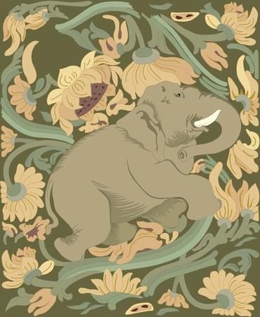 kel: velký slon v pozadí zelené a žluté plants.Illustration dosaženého v jednotlivých vrstvách.