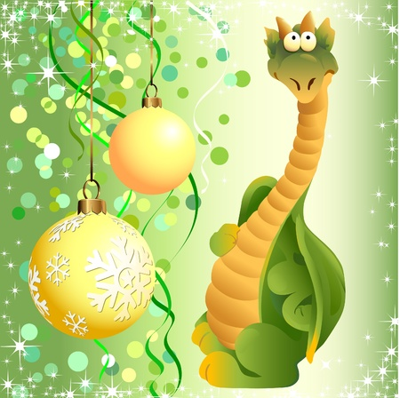 dragon cartoon: Funny green dragon toy on the background of Christmas decorations.