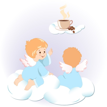 Cute little angels sitting on clouds. They are looking for another cloud, where you can see a cup of aromatic coffee and grains. Stock Vector - 10274653