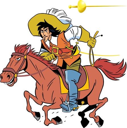 mosquetero: Mosquetero a caballo.Llevaba un l�tigo.