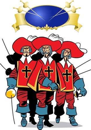 mosquetero:  La ilustración presenta a los tres hombres, los mosqueteros.
