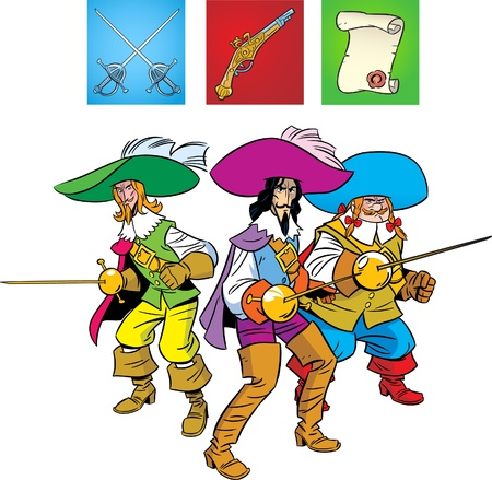 Three Musketeers are in the position of Defense. The illustration also presented a pistol,fencing sword and scroll .