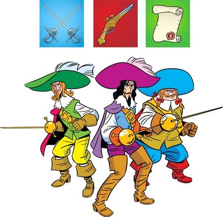 mosquetero: Tres mosqueteros están en la posición de defensa. La ilustración presenta también una pistola, esgrima espada y desplazamiento.