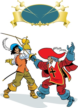 agility:  In the illustration, two men fighting on epee. One of them, musketeer.