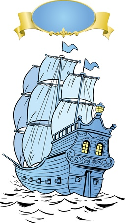 frigate: At sea, an old frigate under sail. Illustration
