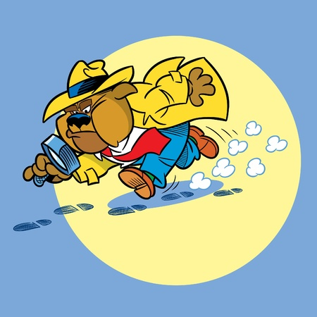 detective: Bulldog detective-attacked on the trail with a magnifying glass.