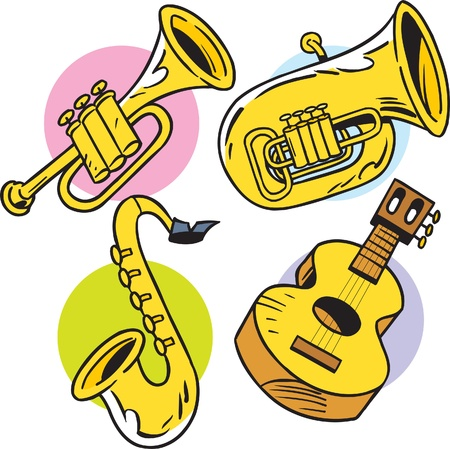 The illustration shows some string and wind musical instruments