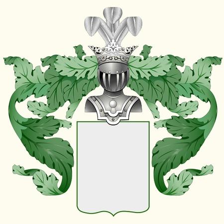 escudo de armas: Ilustraci�n de un escudo her�ldico o un escudo de armas familiar