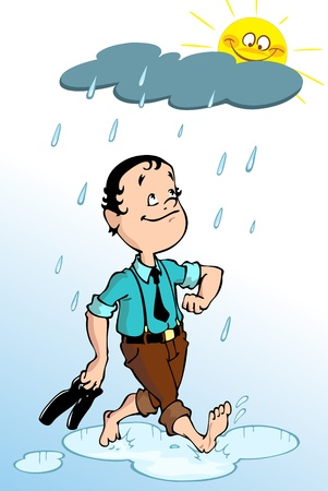 A man walks barefoot through the puddles in the rain.In his hands he carries shoes.