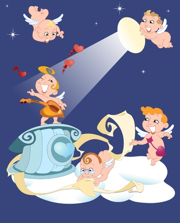 Moonlit night funny cartoon cupids sing serenades Vector