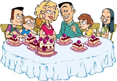 family dinner: A happy family of six people sitting at the table and eat cake