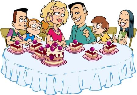 Una familia feliz de seis personas sentadas a la mesa y comer pastel