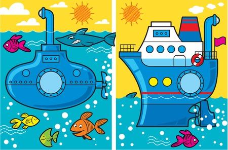 La ilustración de dibujos animados presenta submarino y un barco en el mar, los peces nadan a su alrededor Foto de archivo - 10623751