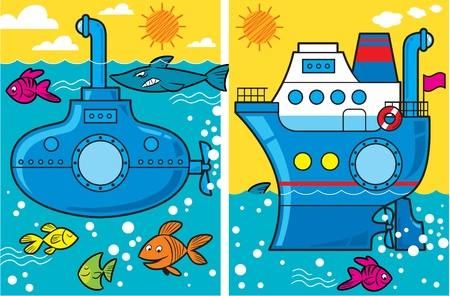 The illustration cartoon  presents  submarine and a ship at sea, the fish swim around them Vector
