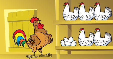 chicken and egg:  The illustration shows the hens and a rooster on the farm