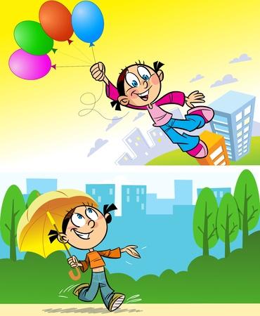 idzie: Dziewczyna idzie do miasta z dziewczyną umbrella.The leci nad miastem na balloons.Illustration dokonanej na poszczególnych warstwach.