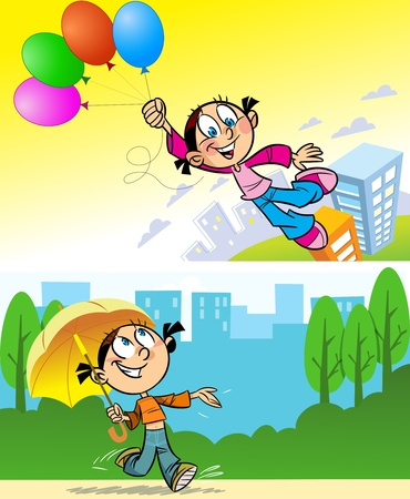 goes: The girl goes to town with an umbrella.The girl is flying over the city on balloons.Illustration made on individual layers. Illustration