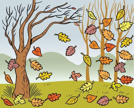 L'illustration présentée dans le paysage d'automne et la défoliation.