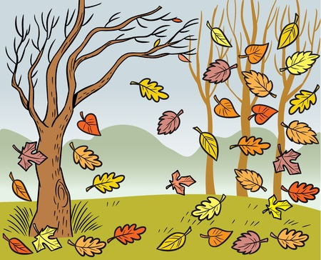 defoliation: The illustration presented in autumn landscape and defoliation. Illustration