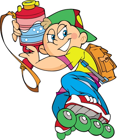 roller skates: In the illustration, the guy on roller skates.In his hands he holds a water pistol