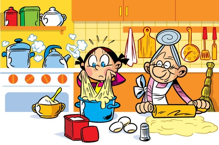 stove: Little granddaughter helps an elderly grandmother to cook in the kitchen.She is learning to knead dough.