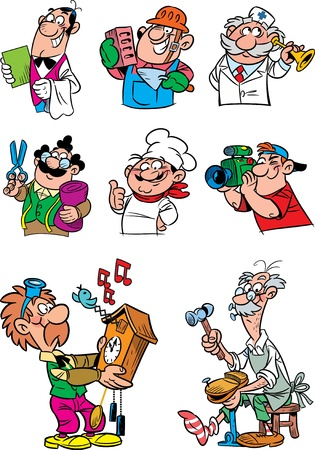 The illustration presents people of various professions.
