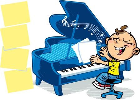 tocando piano: La ilustración presentada al niño que toca el piano Vectores