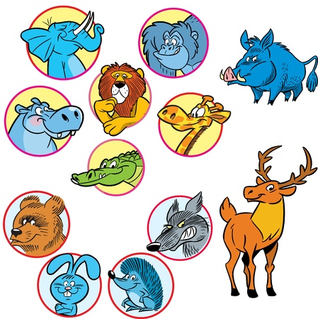 herbivore: The figure shows several species of cartoon wild animals.Illustration done on separate layers.