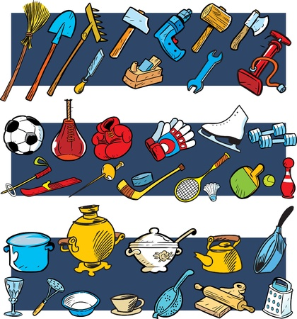The illustration presented sports equipment, tools and utensils in a cartoon style.Drawing done on separate layers. Stock Vector - 10733235