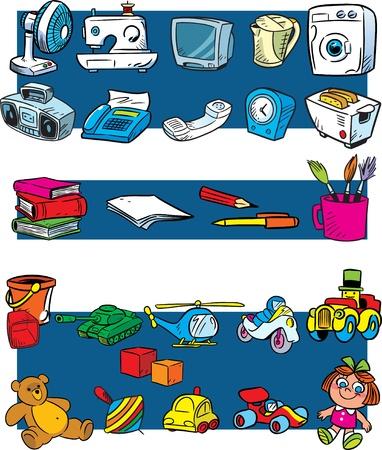 De figuur toont de binnenlandse huishoudelijke apparaten, schrijfwaren en speelgoed in een cartoon style.Illustration op afzonderlijke lagen.