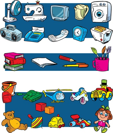 stationery items: The figure shows the domestic household appliances, stationery items and toys in a cartoon style.Illustration made on individual layers.