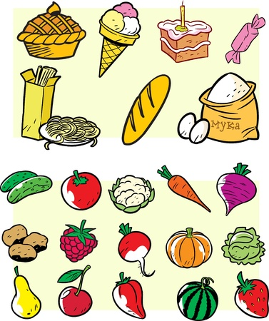 The figure shows the fruits, vegetables and bakery products in a cartoon style. Illustration done on separate layers. Vector